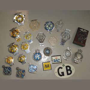 A collection of motoring badges