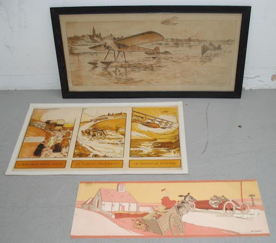 Three pre-war French lithographic motoring and aviation prints
