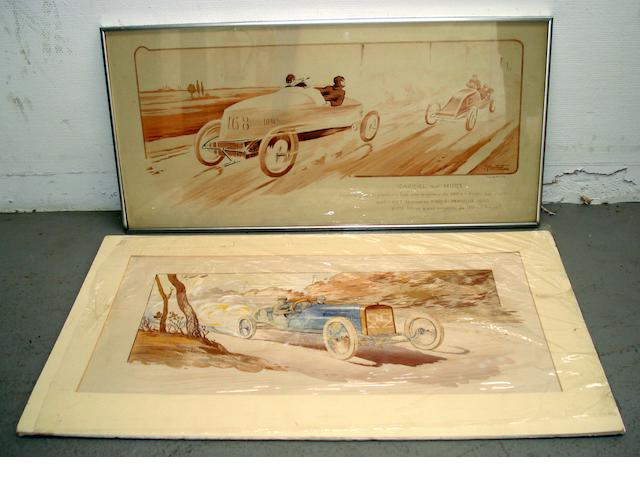 Two pre-War lithographic motoring prints,