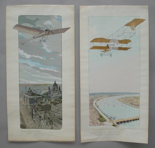 Two colour lithographic aviation prints