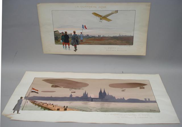 Two French  lithographic colour prints