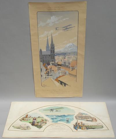 Two French aviation lithographic colour prints