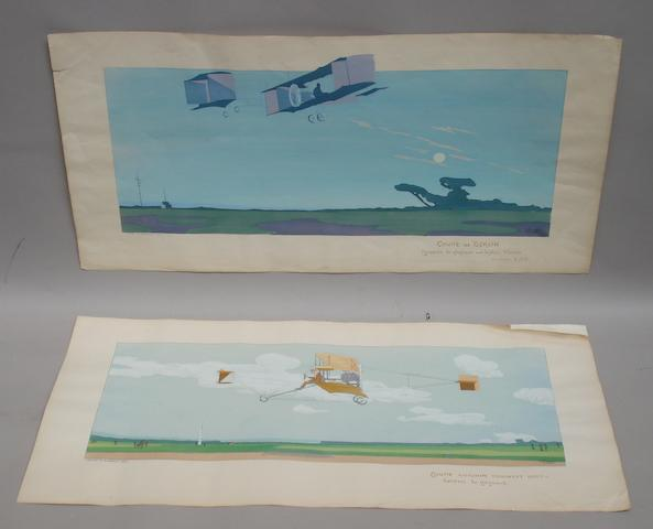 Two French aviation lithographic colour prints after Gamy