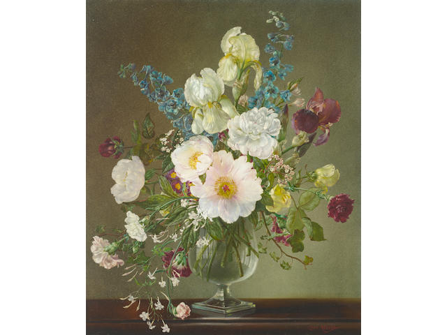 Cecil Kennedy (British, 1905-1997) Still life with delphiniums and carnations 76 x 63.5 cm. (30 x 25 in.)