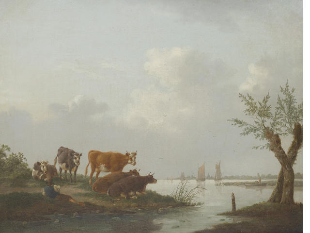 Circle of Charles Towne (Wigan 1763-1840 Liverpool) Cattle in a meadow, a river landscape beyond