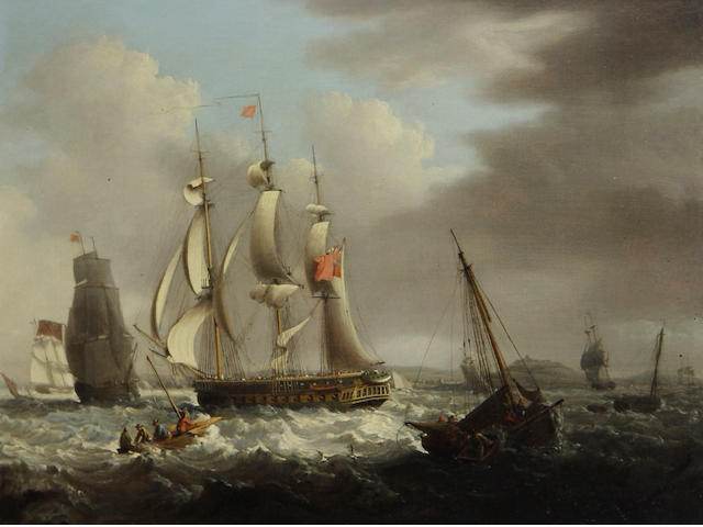 George Webster (British, 1797-1864) A frigate of the Red Squadron off a coast