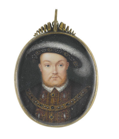 George Perfect Harding (British, circa 1780-1853), after Hans Holbein the Younger (German, circa 1497-1543) Henry VIII (1491-1547), King of England (1509-1547), wearing brown doublet slashed to reveal white, embroidered with gold and bearing gold and onyx buttons, small white collar, fur waistcoat, jewel-set gilt-metal collar, black hat studded with matching jewels and carrying a large white plume