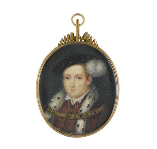 George Perfect Harding (British, circa 1780-1853), after Hans Holbein the Younger (German, circa 1497-1543) Edward VI (1537–1553), King of England (1547-1553), wearing dark red doublet with gold embroidery, white tasselled collar, crimson over doublet with gold embroidery and ermine trim, jewel-set gilt-metal collar, black hat studded with pearls and dressed with a small white plume