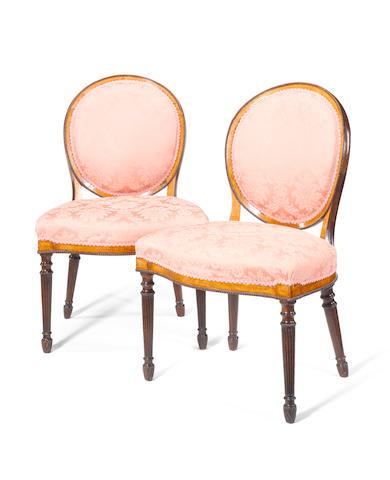 A pair of George III satinwood, tulipwood crossbanded, mahogany and marquetry side chairs Linnell?