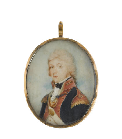 David Gibson (British, active 1788-1797) An Officer, wearing blue coat with red facings and epaulettes with gold fringe, white cross belt with gold belt plate and gorget attached to his coat buttons with black braid