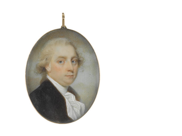 Charles Robertson (Irish, circa 1760-1821) A Gentleman, wearing brown coat, white waistcoat, stock and cravat, his powdered wig worn en queue