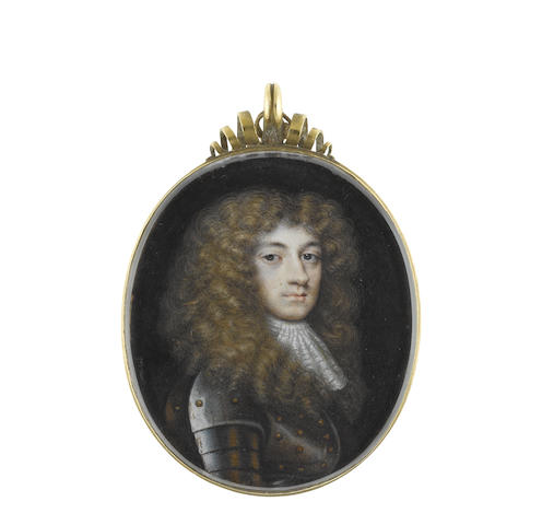 Richard Gibson (British, 1615-1690) Edward Radclyffe, 2nd Earl of Derwentwater (1655-1705), wearing suit of armour, white lace cravat, long natural wig