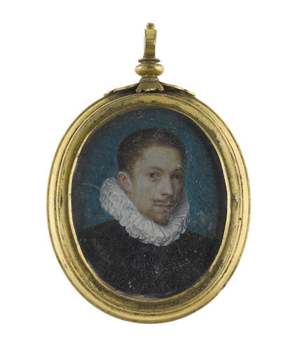 French School, circa 1600 A Gentleman, wearing black doublet and white ruff, against a blue background