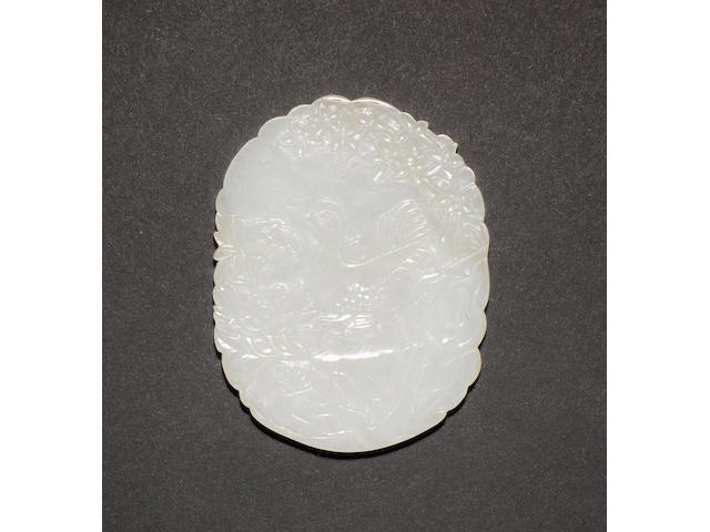 An almost white jade plaque