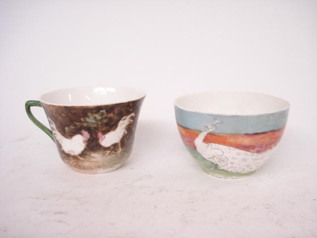 Two hand painted lady artisit tea cups by Nellie Ellen Harvey