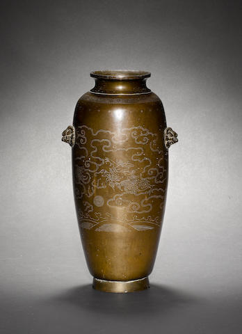 A bronze oviform vase, inlaid with a white-metal design of dragons and clouds Two character mark to base