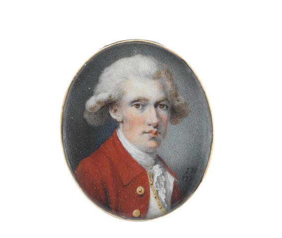 The artist signing I.H. (British, active 1775-1799) A Gentleman, wearing red coat, ivory waistcoat, white stock and lace cravat, his powdered wig worn en queue