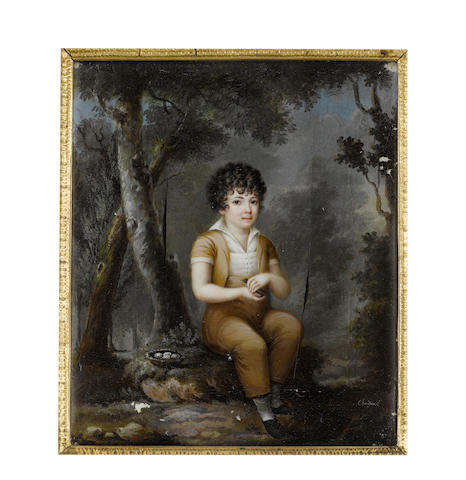 Mme. Chardon, née Vernisy (French, active 1800) Claude Bénigne Paul Gouge (1804-1877) as a young boy, seated in woodland beside a birds' nest containing four eggs, holding a tiny bird in both hands and wearing beige high waisted trousers and short sleeve jacket, cream buttoned waistcoat and chemise, his dark curls cut short