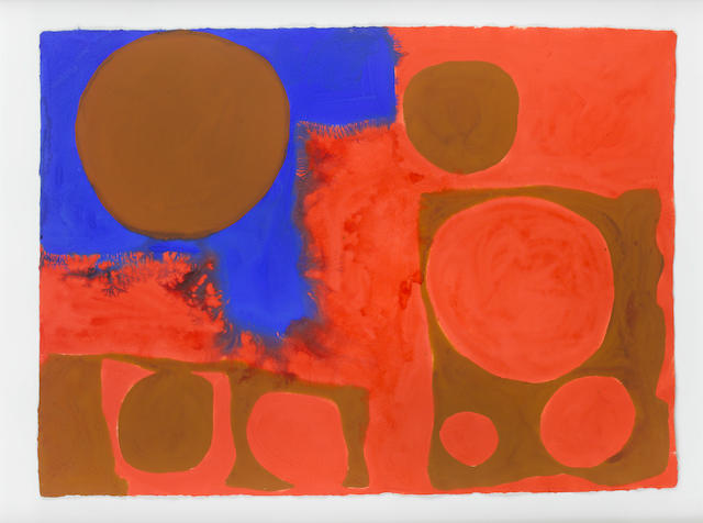 Patrick Heron (British, 1920-1999) Red, Brown and Ultramarine: April 1967 57 x 79 cm. (22 1/2 x 31 in.)