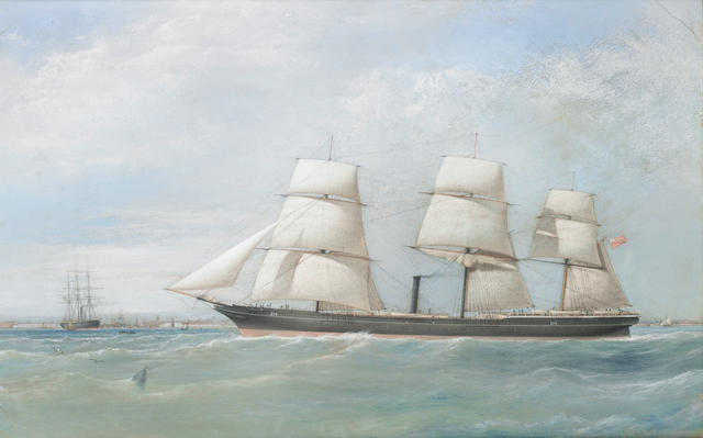 Samuel Walters (British, 1811-1882) The naval auxiliaries Resolute and Assistance off the entrance to Portsmouth Harbour, both in steam but Resolute also under sail