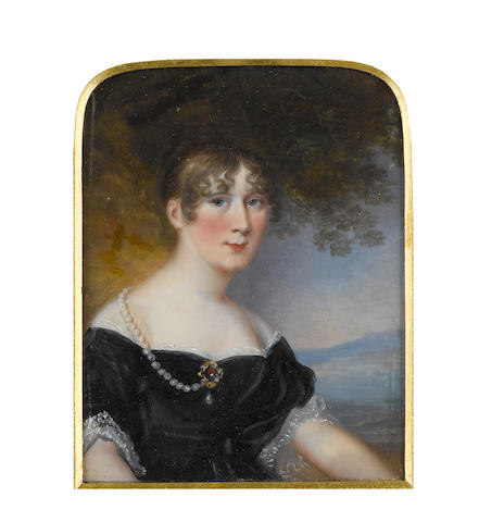James Leakey (British, 1773-1865) Susannah Smith (née Mackworth-Praed), seated in a landscape, wearing black décolleté dress with white lace trim, a strand of large pearls suspended from the back of her dress and fastened at her corsage by a gold and ruby brooch with pearl pendant, her brown hair upswept and curled