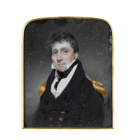 Attributed to Walter Stephens Lethbridge (British, 1771-circa 1831) Vice Admiral Bulkely Mackworth-Praed (1770-1852), wearing blue coat with gold epaulettes, white waistcoat and chemise, black stock