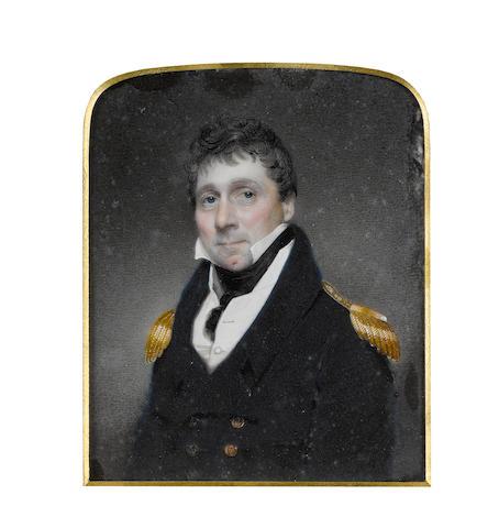 Attributed to Walter Stephens Lethbridge (British, 1771-circa 1831) Vice Admiral Bulkely Mackworth-Praed (1770-1852), wearing blue coat with gold epaulettes, white waistcoat and chemise, black stock