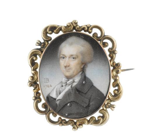 John Bogle (British, 1746-1803) A Gentleman, wearing grey coat, white waistcoat, frilled chemise, stock and cravat, his powdered wig worn en queue