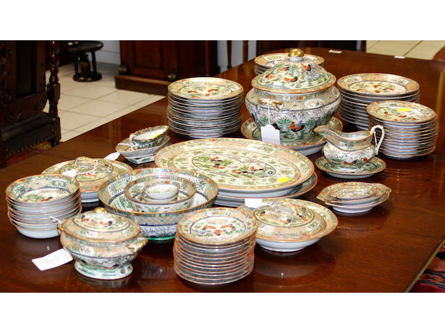 A Chinese famille rose, export porcelain, ninety-one piece dinner sevice,