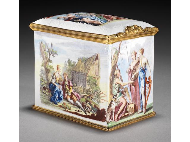 A remarkable Birmingham enamel tea canister, circa 1758-62
