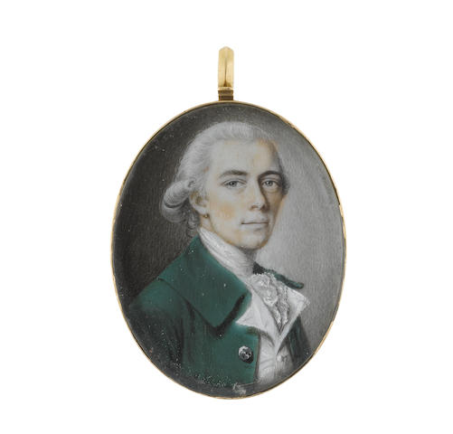 Philip Jean (British, 1755-1802) A Gentleman, wearing green coat, white waistcoat, lace cravat and stock, his powdered wig worn en queue