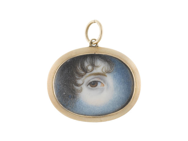 English School, early 19th Century An eye miniature, depicting a Lady's right eye with brown iris, curled brown hair to the left