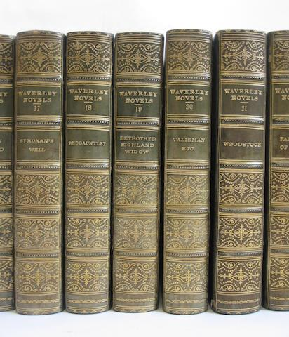 SCOTT (WALTER) The Waverley Novels, 25 vol., blue half calf, Adam and Charles Black, 1871
