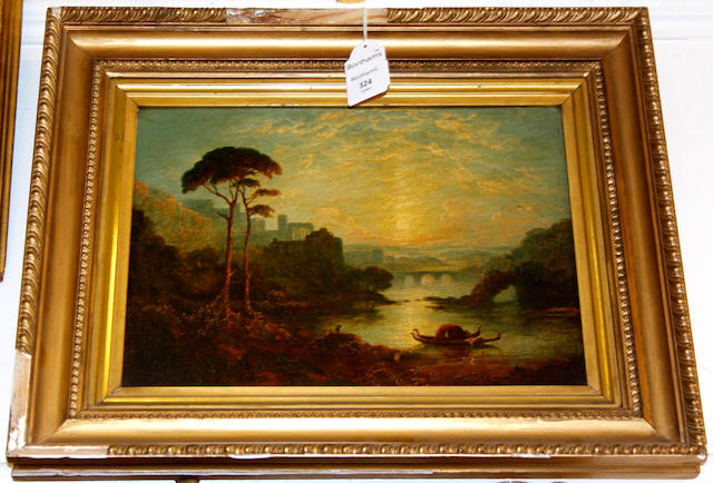 Manner of Joseph Mallord William Turner, RA Arcadian river landscape with gondolas