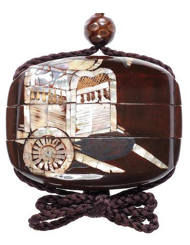 A dark brown black lacquer two-case inro 17th century