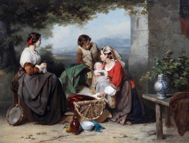 Karel Frans Philippeau (Dutch, 1825-1897) Figures in a courtyard
