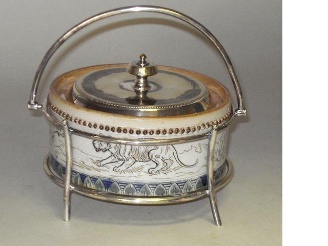 Hannah Barlow: A Lambeth Doulton butter dish with electro-plated mounts,