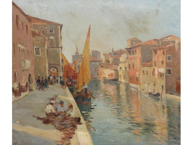 Eugenio Gignous (Italian, 1850-1906) Canale con barche a Chioggia