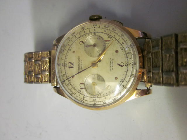 An 18ct gold Suisse chronographe bracelet watch,