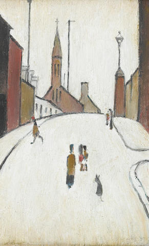 Laurence Stephen Lowry R.A. (British, 1887-1976) Street in Clitheroe 24.5 x 15.5 cm. (9 1/2 x 6 in.)