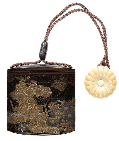 A black lacquer three-case inro By Kanshosai Toyo, 19th century