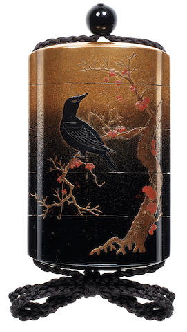 A gold and black lacquer four-case inro By Yamada Jokasai, 19th century