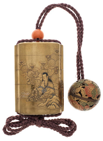 A gold lacquer and metal-inlaid four-case inro By the Kajikawa Family, 19th century