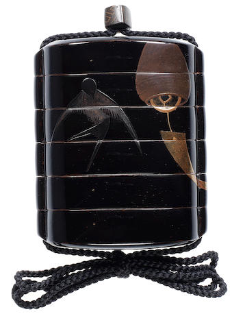 A black lacquer five-case inro By the Kajikawa family, 18th/19th century