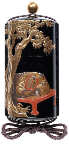 A black lacquer four-case inro By Nakayama Komin (1808-1870), mid/late 19th century