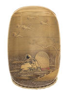 A gold lacquer four-case inro By Shokyosai, 19th century