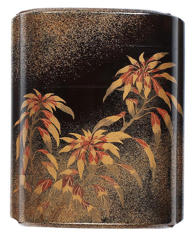 A black and gold lacquer four-case inro By Nakaoji Moei, early 19th century
