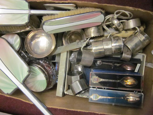A seven piece enamel dressing table set,  Birmingham 1938,   (Qty)