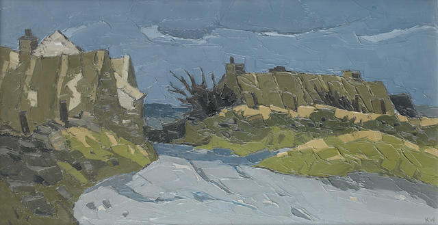 Sir Kyffin Williams R.A. (British, 1918-2006) Rhoosan Ty-ddewi 41 x 76 cm. (16 x 30 in.)