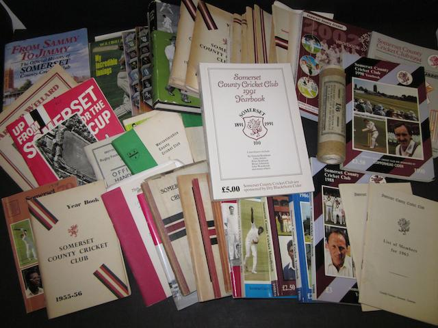 A collection of Somerset C.C.C. year books from 1937 and other cricket publications